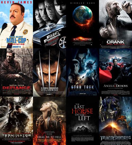 Kinoplakate der Filme aus den letzten 4 Monaten