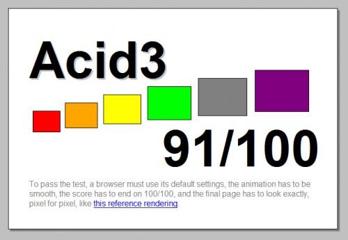 BitTorrent aktiv, Acid3 mit 91 Punkten