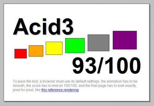 BitTorrent inaktiv, Acid3 mit 93 Punkten
