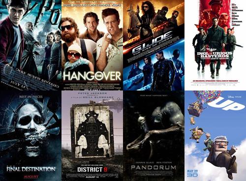 Kinoplakate der Filme aus den letzten Monaten