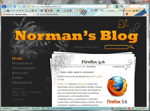Norman's Blog im Firefox 3.6