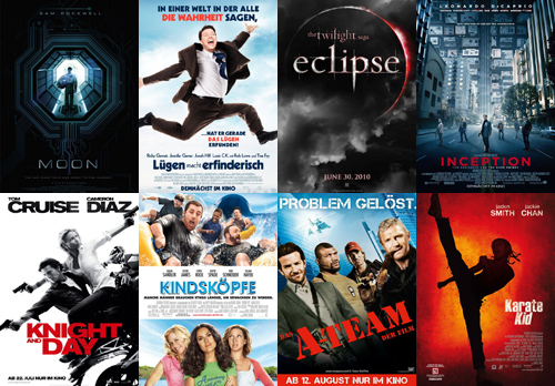 Moon, Lügen macht erfinderisch, Twilight: Eclipse, Inception, Knight and Day, Kindsköpfe, A-Team, Karate Kid