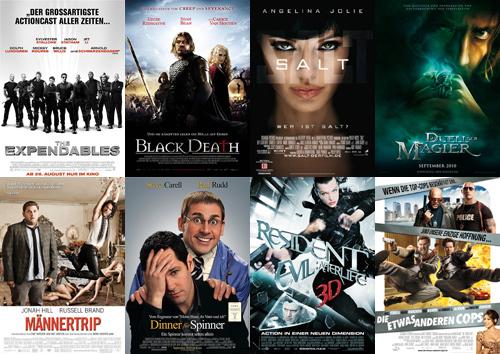Expendables, Black Death, Salt, Duell der Magier, Männertrip, Dinner für Spinner, Resident Evil: Afterlife 3D, Die etwas anderen Cops