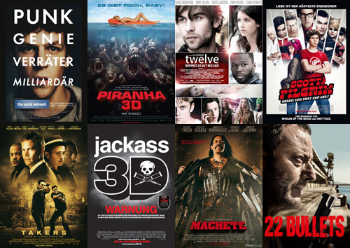 The Social Network, Piranha 3D, Twelve, Scott Pilgrim gegen den Rest der Welt, Takers, Jackass 3D, Machete, 22 Bullets