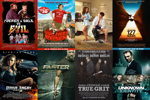 Tucker & Dale vs. Evil, Gullivers Reisen, Freundschaft Plus, 127 Hours, Drive Angry, Faster, True Grit, Unknown Identity