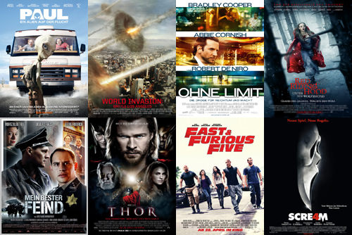 Paul, World Invasion: Battle Los Angeles, Ohne Limit, Red Riding Hood, Mein bester Feind, Thor, Fast & Furious Five, Scream 4