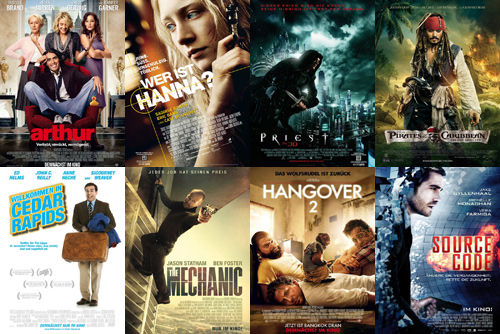 Arthur, Wer ist Hannah?, Priest, Fluch der Karibik 4, Willkommen in Cedar Rapids, The Mechanic, Hangover 2, Source Code