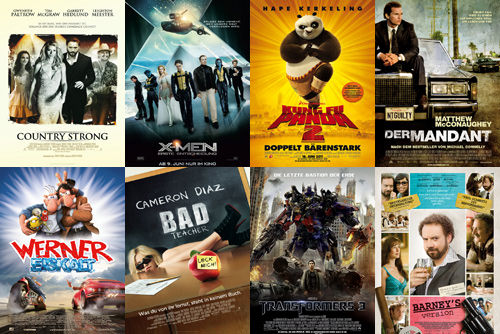 Country Strong, X-Men First Class, Kung Fu Panda 2, Der Mandant, Werner Eiskalt, Bad Teacher, Transformers 3, Barney's Version
