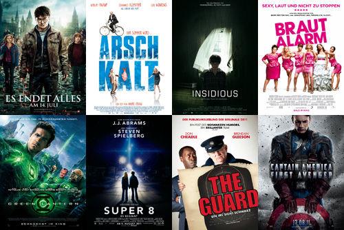 Harry Potter und die Heiligtümer des Todes Teil2, Arschkalt, Insidious, Brautalarm, Green Lantern, Super 8, The Guard, Captain America