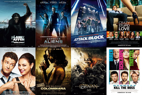 Planet der Affen: Prevolution, Cowboys & Aliens, Attack the Block, Crazy Stupid Love, Freunde mit gewissen Vorzügen, Colombiana, Conan, Kill the Boss