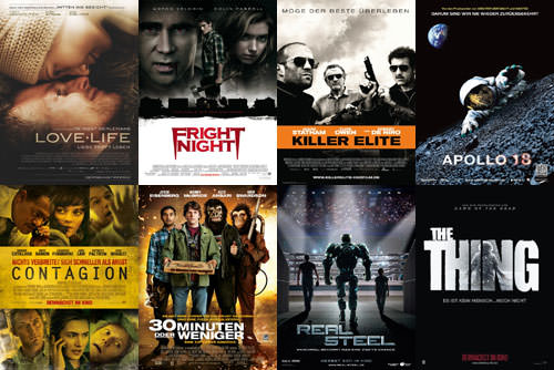 Love Life, Fright Night, Killer Elite, Apollo 18, Contagion, 30 Minuten oder weniger, Real Steel, The Thing