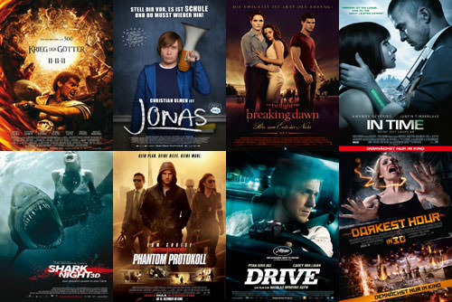 Krieg der Gtter, Jonas, Breaking Dawn, In Time, Shark Night, M:I Phantom Protokoll, Drive, Darkest Hour