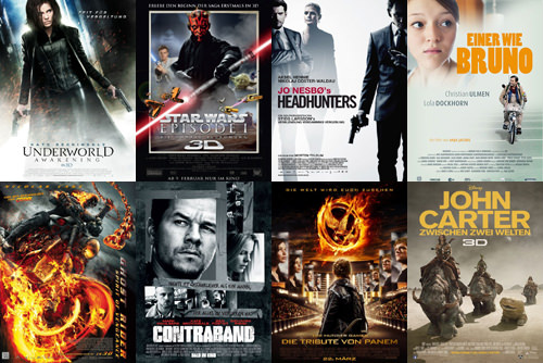 Underworld 4, Star Wars Episode 1, Headhunters, Einer wie Bruno, Ghost Rider 2, Contraband, Hungergames, John Carter